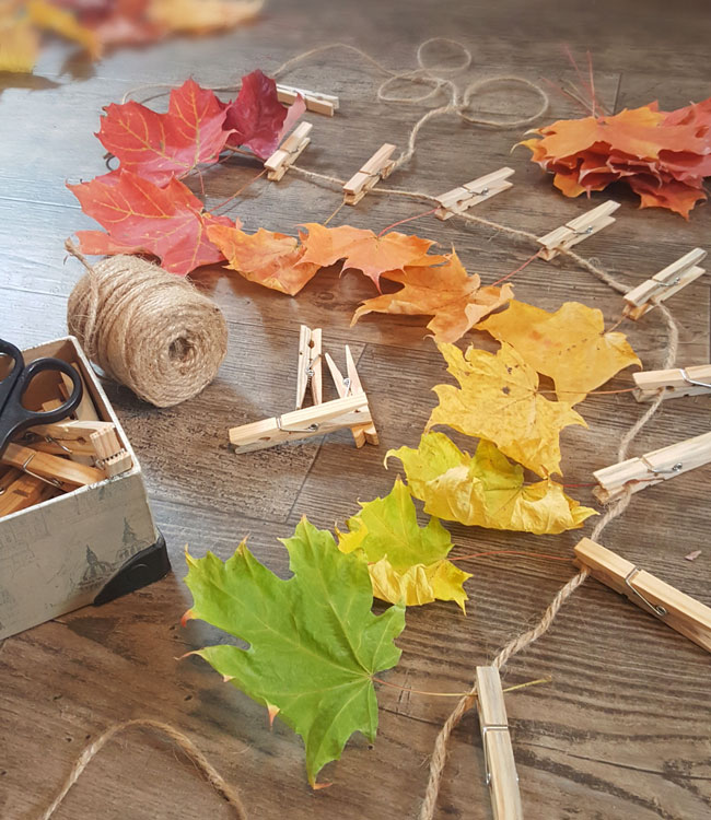 Autumn inspired play with leaves